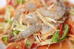 索马里兰胃、泰国食物或者番木瓜沙拉在辣口味和是普遍的 免版税图库摄影