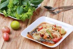 索马里兰胃、泰国食物或者番木瓜沙拉在辣口味和是普遍的 免版税库存图片