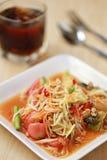 索马里兰胃、泰国食物或者番木瓜沙拉在辣口味和是普遍的 免版税库存照片