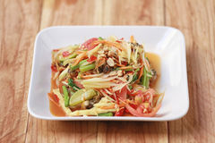 索马里兰胃、泰国食物或者番木瓜沙拉在辣口味和是普遍的 库存照片