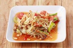 索马里兰胃、泰国食物或者番木瓜沙拉在辣口味和是普遍的 库存图片