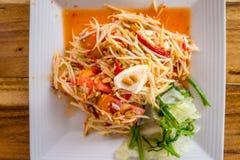 索马里兰胃-番木瓜沙拉-辣泰国食物 库存照片