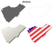 马里波萨县,加利福尼亚概述地图集合 图库摄影