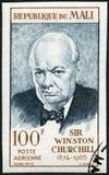 马里- 1965年:展示温斯顿伦纳德Spencer丘吉尔1874-1965,政客先生 图库摄影