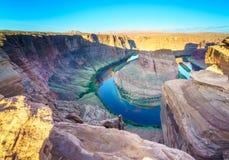 马鞋子弯,页的,亚利桑那美国科罗拉多河 免版税图库摄影