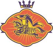 马骑士长矛减速火箭的骑马 皇族释放例证