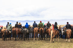 马骑术在歌曲kul湖在吉尔吉斯斯坦 免版税库存图片