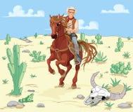 马骑术牛仔 免版税库存图片