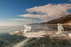 马,从冰的一个雕塑 免版税库存图片