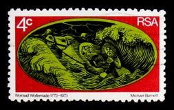 马, Wolraad Woltemade serie 200th周年,大约1973年 免版税库存照片