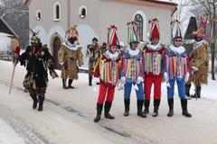 马索普斯特狂欢节 捷克礼仪Shrovetide队伍 图库摄影