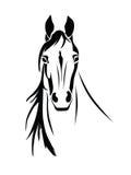 马头正面图的剪影 库存图片