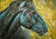 马画象木炭和柔和的淡色彩 免版税库存图片