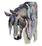 马头,马赛克 时髦样式几何在白色背景 免版税库存图片