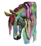 马头,马赛克 时髦样式几何在白色背景 免版税图库摄影