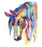 马头,马赛克 时髦样式几何在白色背景 免版税库存照片