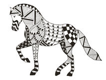 马zentangle传统化了,导航,例证,徒手画的铅笔 库存图片
