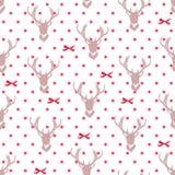 驯鹿剪影、红色丝带弓和星无缝的传染媒介 免版税库存照片