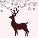 驯鹿剪影和圣诞节装饰 库存例证