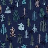 驯鹿和树圣诞节无缝的样式 向量例证