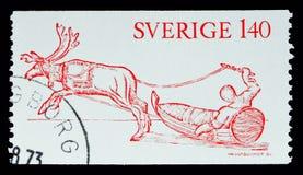 驯鹿和爬犁(从Lapponia的木刻),百年Lappon 免版税库存照片