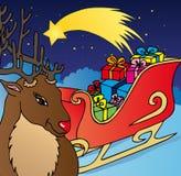 驯鹿和雪撬 免版税库存照片