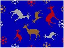 驯鹿和雪花样式蓝色墙纸  向量例证