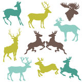 驯鹿圣诞节剪影 库存例证