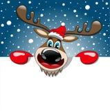 驯鹿圣诞节广告牌标志雪满天星斗的天空 免版税库存照片