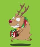 驯鹿圣诞节有绿色丝带的礼物盒 图库摄影
