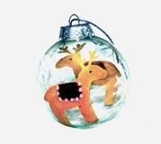 驯鹿圣诞节球 免版税库存照片