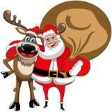 驯鹿圣诞节被隔绝的圣诞老人拥抱 免版税库存照片