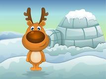 驯鹿在冬天,例证 库存照片