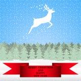驯鹿在圣诞节森林里 免版税库存图片