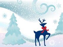 驯鹿在多雪的草甸 图库摄影