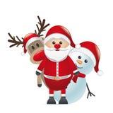 驯鹿红色鼻子圣诞老人雪人 免版税库存图片