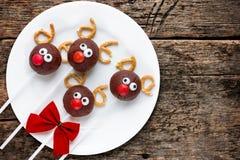驯鹿蛋糕流行孩子的圣诞节款待 库存照片
