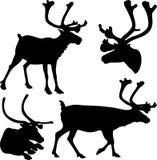 驯鹿-传染媒介剪影 库存例证