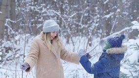 驱动乐趣爬犁冬天 愉快的母亲和儿子投掷的雪在天空中在冬天森林或公园里 股票视频