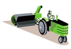 驱动农夫他的拖拉机 免版税库存图片