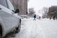 驱动在蒙特利尔的冬天 免版税库存照片