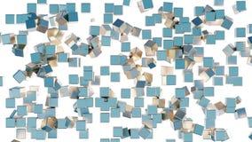 驱散几个浅兰的飞行的立方体和消失 向量例证