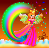 驱散在天空的小神仙的例证星 免版税库存照片