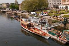 驳船gloriana周年纪念 库存图片