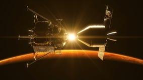 驶出船坞在太阳光芒的空间站在火星的 影视素材