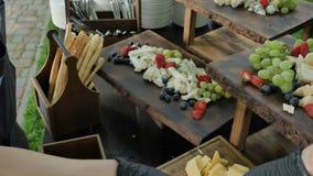 驻地用大被分类的乳酪切达乳酪,戈贡佐拉,咸味干乳酪,荷兰扁圆形干酪,巴马干酪,希脂乳,乳清干酪,maasdam,瑞士干酪 股票视频