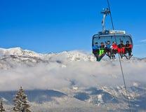 驾空滑车 奥地利手段schladming滑雪 奥地利 免版税图库摄影