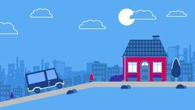 驾车到一个老街市房子 向量城市背景 导航红色减速火箭的样式车蓝色和红颜色计划 库存图片
