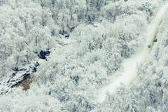 驾车在沿河的冬天多雪的森林公路 库存图片