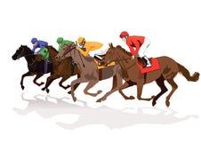 轻驾车赛用马舍入三轮的跑马 免版税库存图片